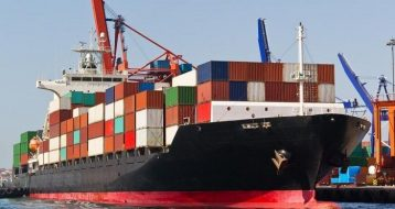 Ship importing goods
