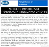 KEBS Notice for Car Importation from 2015